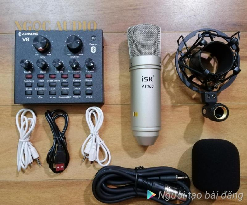 Bộ 2 món live stream sound card V8 Bluetooth  Micro ISK AT 100