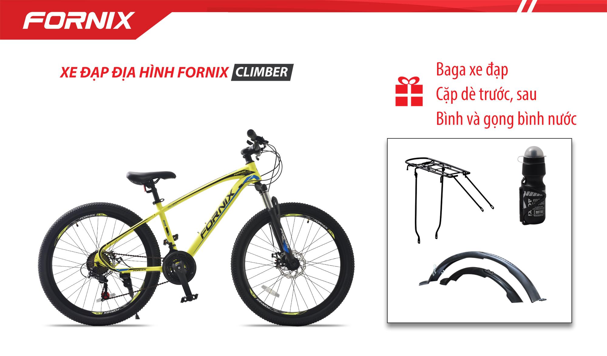 Mua Xe đạp địa hình Fornix Climber + Tặng Bình nước và gọng bình nước, Cặp dè thể thao, Baga
