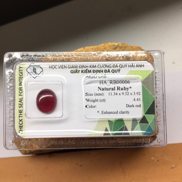 Viên đá Ruby tự nhiên - Viên rời - mài tròn/ovan cabochon - Ép vỉ niêm phong HA-G3-21