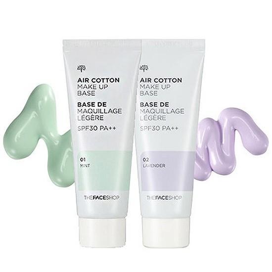 [Hàng Chuẩn Auth] Kem Lót Kiềm Dầu Và Hiệu Chỉnh Tone Da The Face Shop Air Cotton Make Up Base SPF30 PA++ 35g