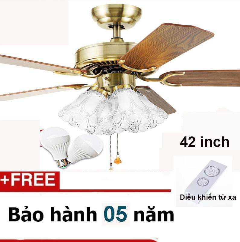 Quạt trần đèn trang trí 5 cánh gỗ 4 bóng đèn Dong Chaohuang loại 42inch + kèm 4 bóng + Có điều khiển từ xa