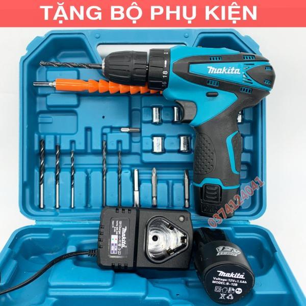 Máy Khoan Bắt vít Pin Makita 12V - Tặng bộ mũi khoan 25 chi tiết - Khoan gỗ - Khoan sắt - Bắn tôn - Van Đô Store
