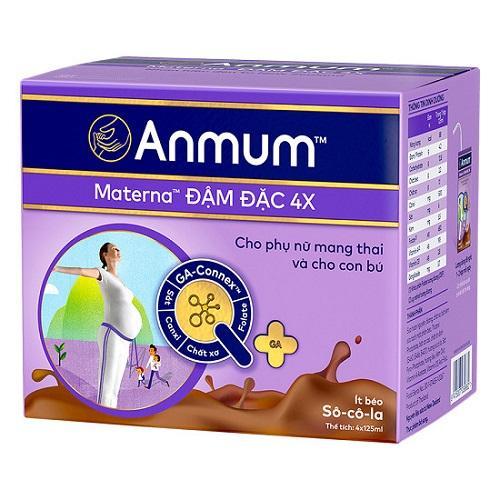 Sữa nước Anmum Materna đậm đặc 4x vị socola ít béo lốc 4 hộp x 125ml