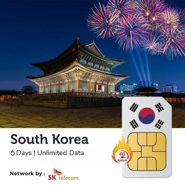 Sim 4G Du Lịch Hàn Quốc Korea Three 6 ngày 6GB không giới hạn dung lượng