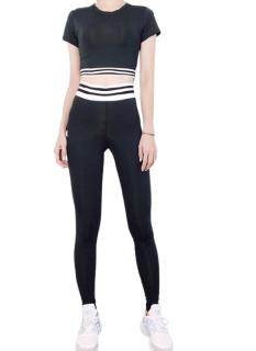 Bộ đồ tập Gym Yoga bo line xám đen phối trắng thumbnail