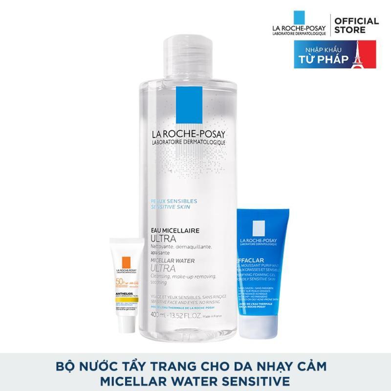 Bộ sản phẩm nước tẩy trang làm sạch sâu giàu khoáng dành cho da nhạy cảm La Roche Posay Micellar Water Ultra Sensitive Skin cao cấp