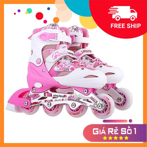 Phân phối Giày Patin trẻ em  inline Long Feng 906 - CHÍNH HÃNG - giày trượt patin người lớn , trẻ em đủ size S M L màu hồng