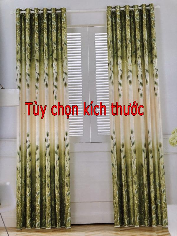 Rèm cửa hoa văn đẹp màu xanh chiếc lá - giá tốt - vải rèm 2 mặt