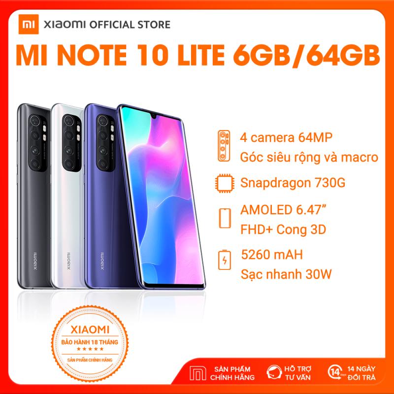 [XIAOMI OFFICIAL] Điện thoại Xiaomi Mi Note 10 Lite 6GB/64Gb - Snapdragon 8 nhân 730G (8nm), Màn hình 6.47 inches, Pin siêu khủng 5260mAh sạc nhanh 30W, 4 Camera 64MP/8MP/5MP/2MP góc siêu rộng - BH CHÍNH HÃNG 18 tháng