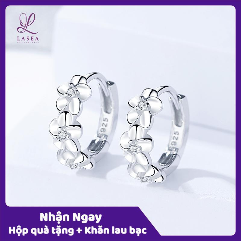 Bông tai nữ trang sức bạc Ý S925 Lasea - Hoa tai đính đá hình bông hoa E056