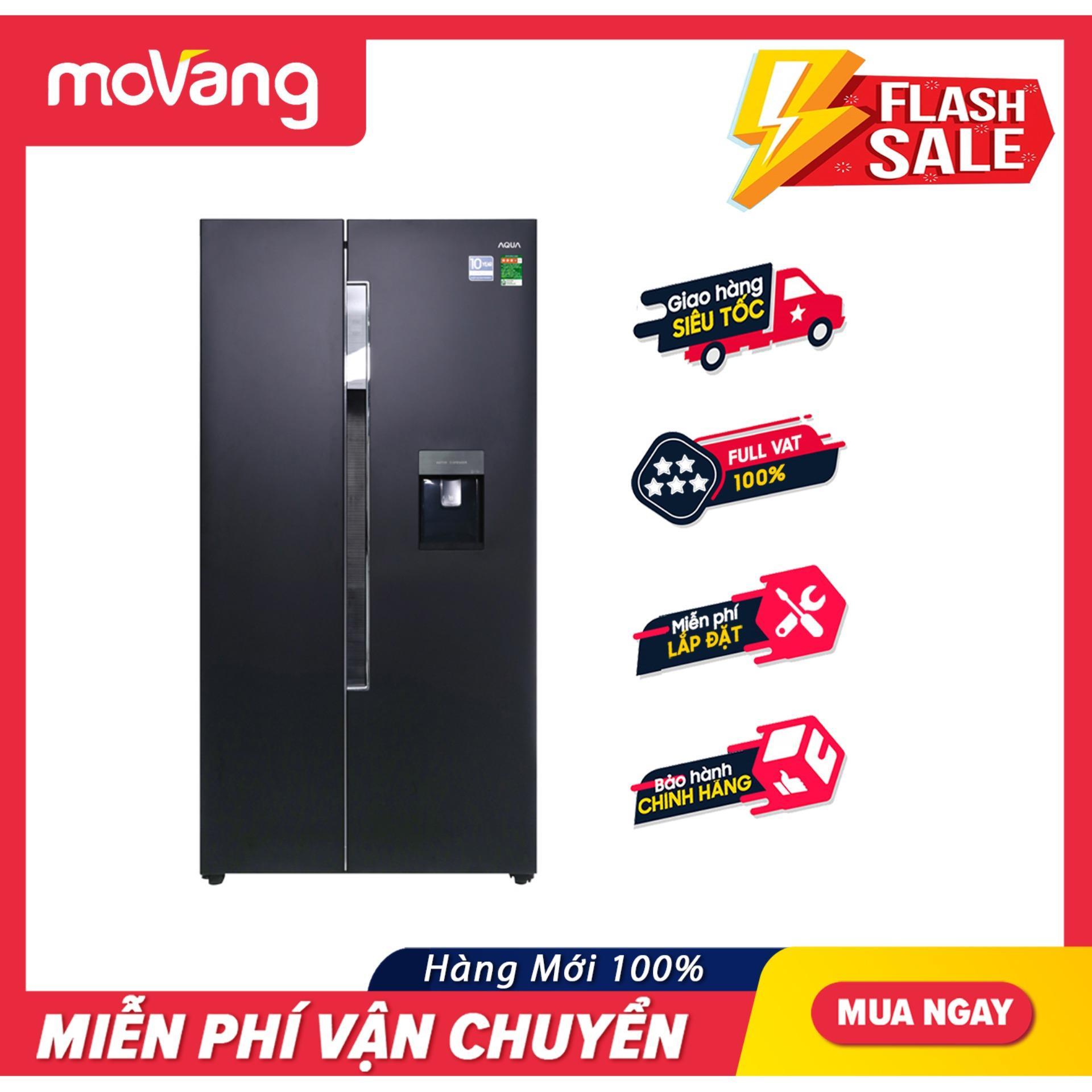 Tủ lạnh Side by Side 2 cửa Aqua Inverter 557L AQR-I565AS tiết kiệm điện, vận hành êm, hệ thống lấy nước bên ngoài tiện lợi