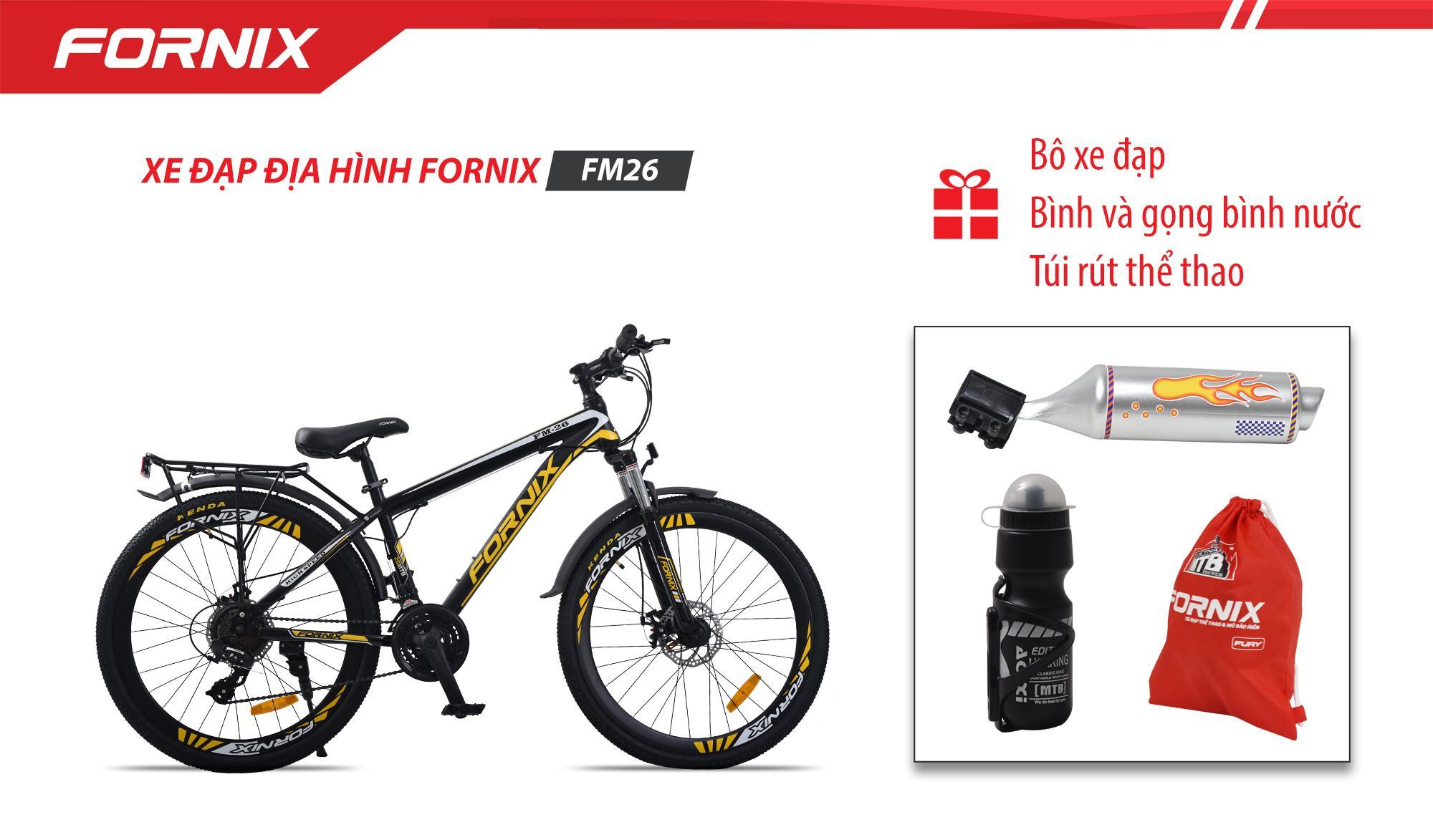 Mua [ Có video] Xe đạp địa hình thể thao Fornix FM26 + (Gift) Túi Fornix + Pô xe đạp + Bình và gọng bình nước