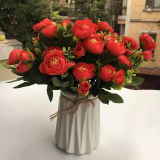 1 cành Hoa hồng Châu Âu -hoa hồng giả cao cấp-hoa lụa trang trí sang trọng thumbnail
