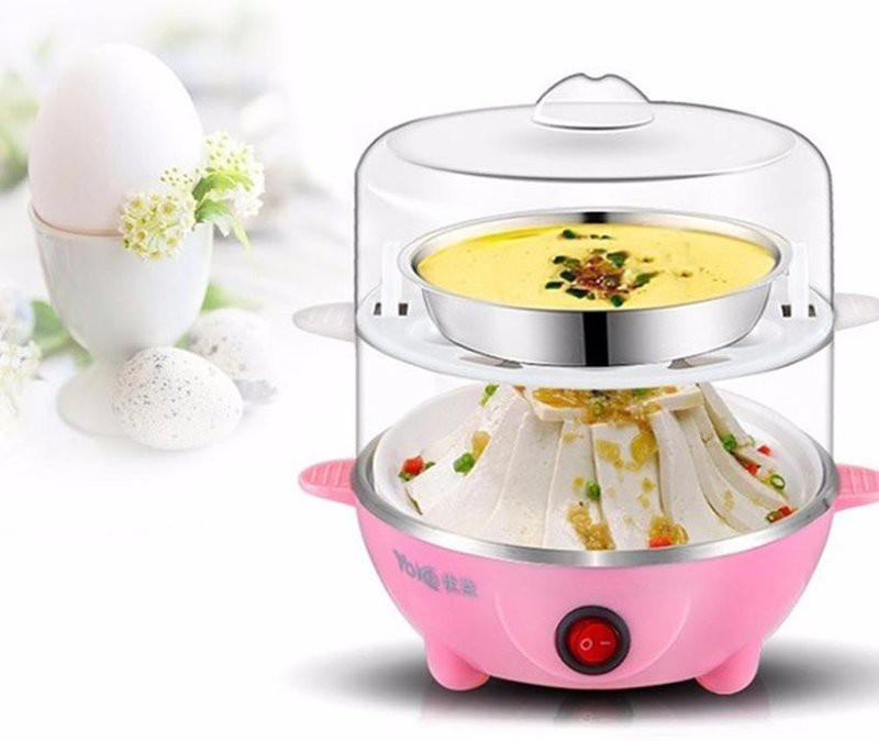 Nồi luộc trứng hấp thức ăn đa năng 2 tầng - Nồi hấp trứng cao cấp - máy luộc trứng nhiều tầng (Xanh dương)