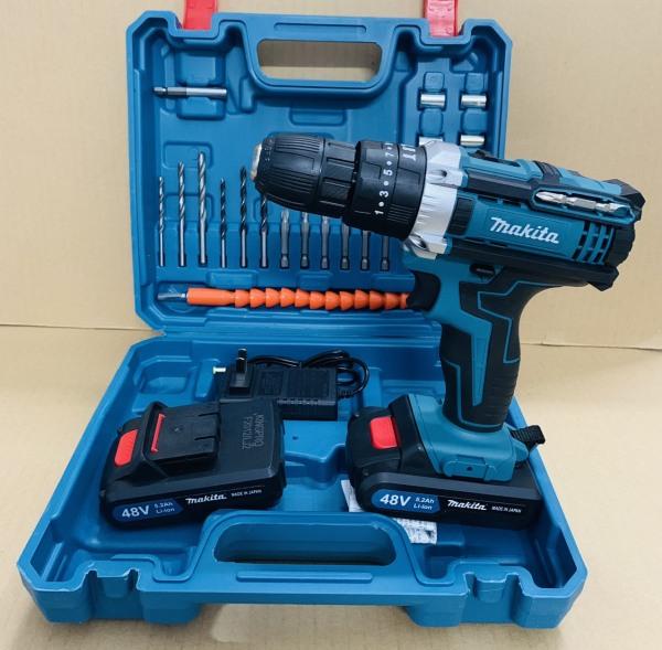 Máy khoan pin 48V Makita 3 chức năng có búa - Chuyên khoan tường, khoan sắt, khoan gỗ, bắt vít
