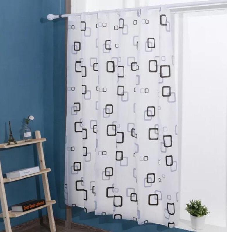 Rèm Phòng Tắm / Rèm Cửa Sổ Trắng Họa Tiết Ô Vuông Xanh Và Đen 180cm X 180cm Loại 1