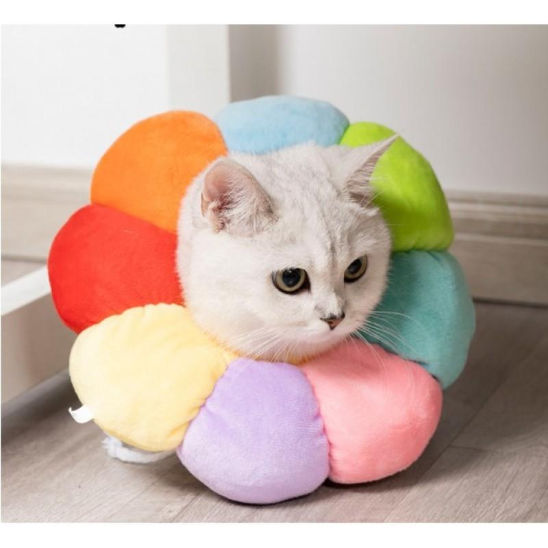 Vòng Chống Liếm Chó Mèo Họa Tiết 7 Màu Siêu Đáng Yêu