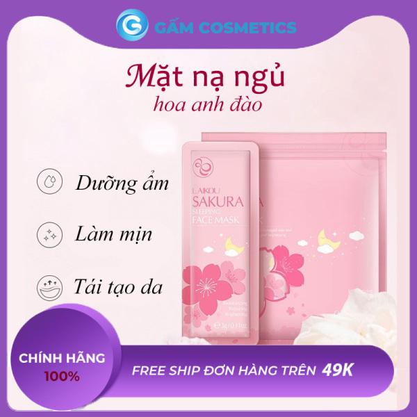 Túi 15 gói mặt nạ ngủ bùn khoáng hoa anh đào Sakura Laikou dưỡng da cấp ẩm ngừa lão hóa mỹ phẩm nội địa Trung chính hãng - Gấm Cosmetics