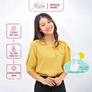 Áo Kiểu Nữ Công Sở Thời Trang Eden Dáng Suông Cổ Tròn Phối Hoa- ASM096 thumbnail