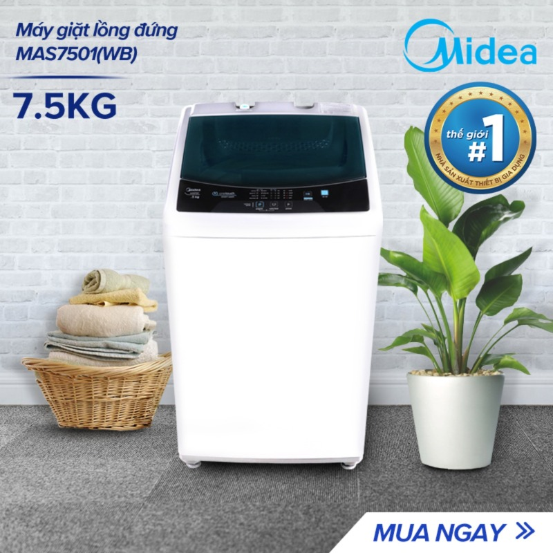 Bảng giá Máy giặt lồng đứng Midea MAS7501 7.5kg (Trắng/Xám Bạc) - Thiết kế đơn giản sang trọng - Điều khiển một chạm cảm ứng - Hàng Chính Hãng Bảo Hành 2 Năm Điện máy Pico