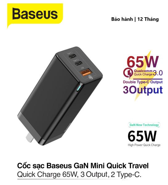 Giá Củ sạc Baseus GaN 65W sạc nhanh PD 3.0,Baseus mini Quick Chager , 3 cổng ( 2type-c + 1 usb)