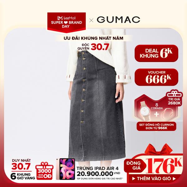 Nơi bán [3000 QUÀ CHỈ 30/7]- ĐỘC QUYỀN LAZADA- Chân váy nữ  jean đính nút VJA11236 GUMAC