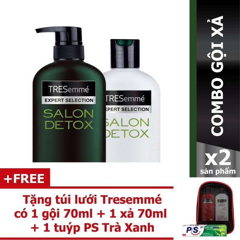 Combo Tresemme Detox dầu gội 650g + dầu xả 340g + Tặng túi lưới Tresemme có 1 gội 70ml + 1 xả 70ml + 1 kem đánh răng P/s giá rẻ