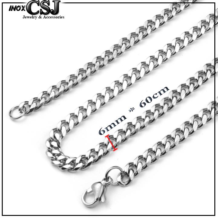 DÂY CHUYỀN NAM INOX 6LY KIỂU LẶC ĐƠN VÁT CẠNH DN062 - tặng mặt dây chuyền bát quái âm dương - đẹp , không đen, không gỉ, chuẩn thời trang