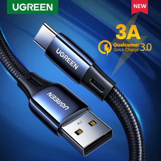 UGREEN 3A Quick Charge USB-C Cord USB Type C Cable Zinc Alloy USB A to USB C Fast Charger Flat Nylon Cable for Huawei nova 5T Redmi note 8 Samsung Galaxy S20 S10 Note9 Samsung A20 thumbnail