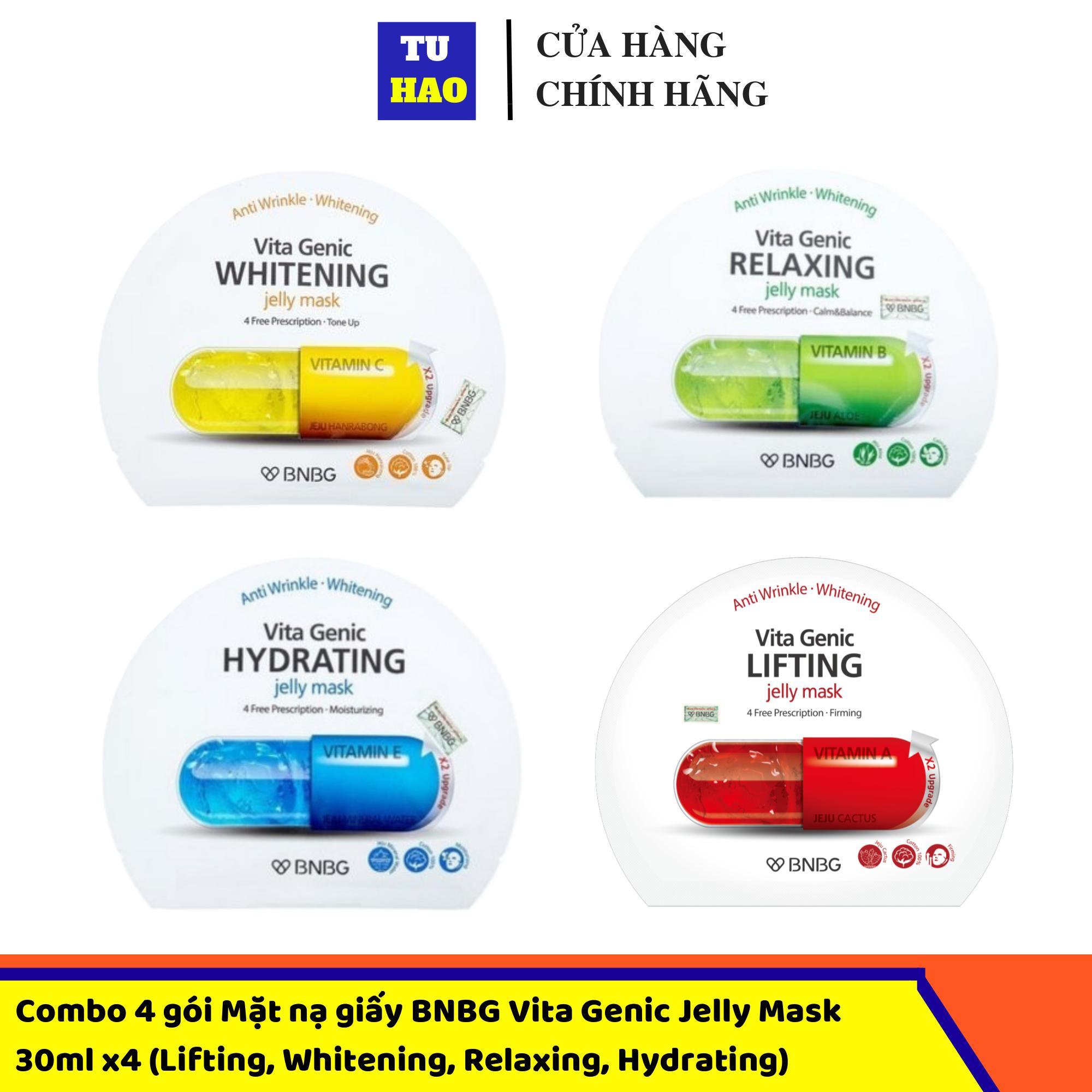 Combo 4 gói Mặt nạ giấy BNBG Vita Genic Jelly Mask 30mlx10 (Lifting, Whitening, Relaxing, Hydrating) Mix đủ 4 loại cao cấp