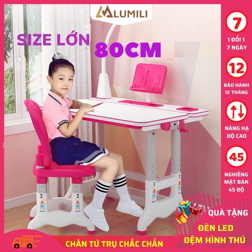 [ Size to tặng đèn led, đệm ghế] bàn học sinh trẻ em lumili bàn học  thông minh chống gù chống cận cho bé  T500 size to mặt bàn lớn 80 cm nâng hạ độ cao nghiêng mặt bàn 45 độ phù hợp với học sinh tiểu học