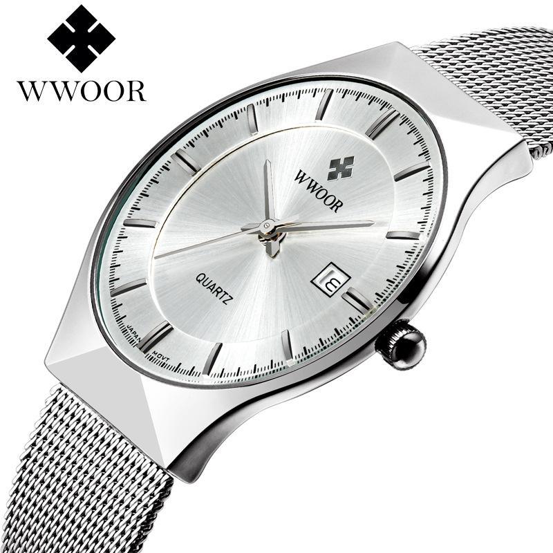 Nơi bán Đồng hồ nam WWOOR 8016 máy mỏng dây thép không gỉ (M Trắng)