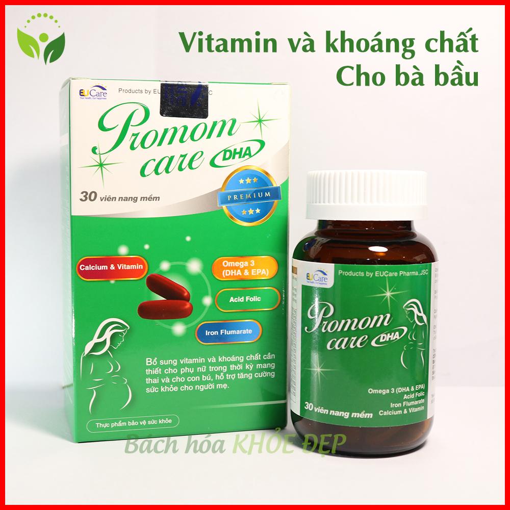 Hộp 30 viên uống bổ sung DHA và Vitamin tổng hợp cho Bà bầu Promom Care - Chuẩn GMP Bộ Y Tế nhập khẩu