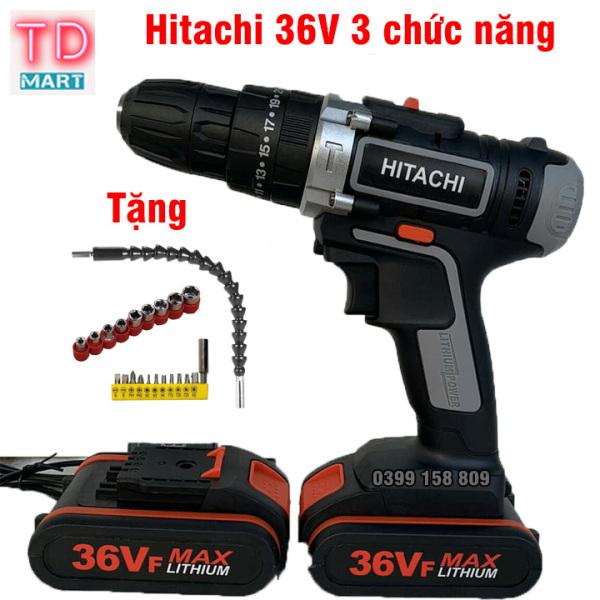 Máy Khoan Pin Hitachi 36V có búa, 2 pin- Khoan tường,khoan sắt, khoan gỗ Tặng bộ phụ kiện 21 chi tiết