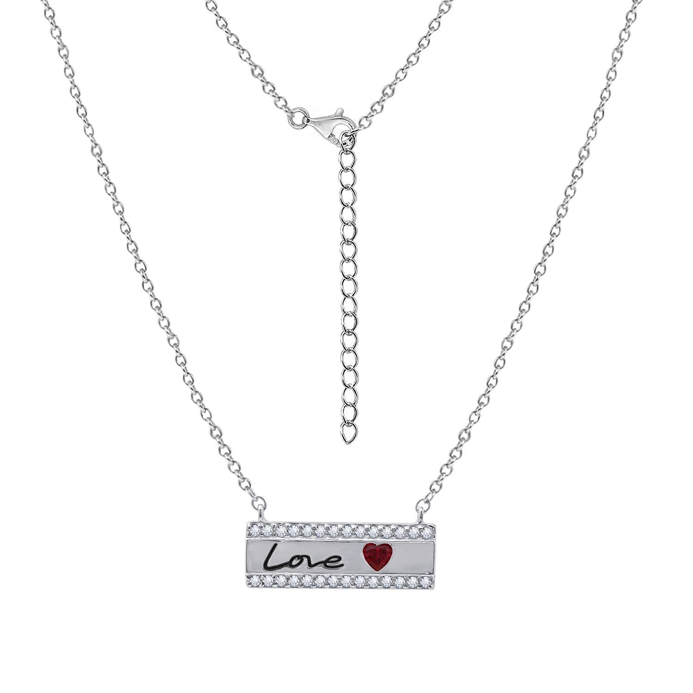 Dây chuyền Love Bar Jadmire bạc Ý 925 cao cấp mạ Platinum đính đá Ruby nhân tạo và Swarovski® trắng