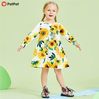 Đầm Cotton 100% PatPat Cho Bé Gái, Đầm Dài Tay Họa Tiết Hoa Hướng Dương Cho Trẻ Mới Biết Đi