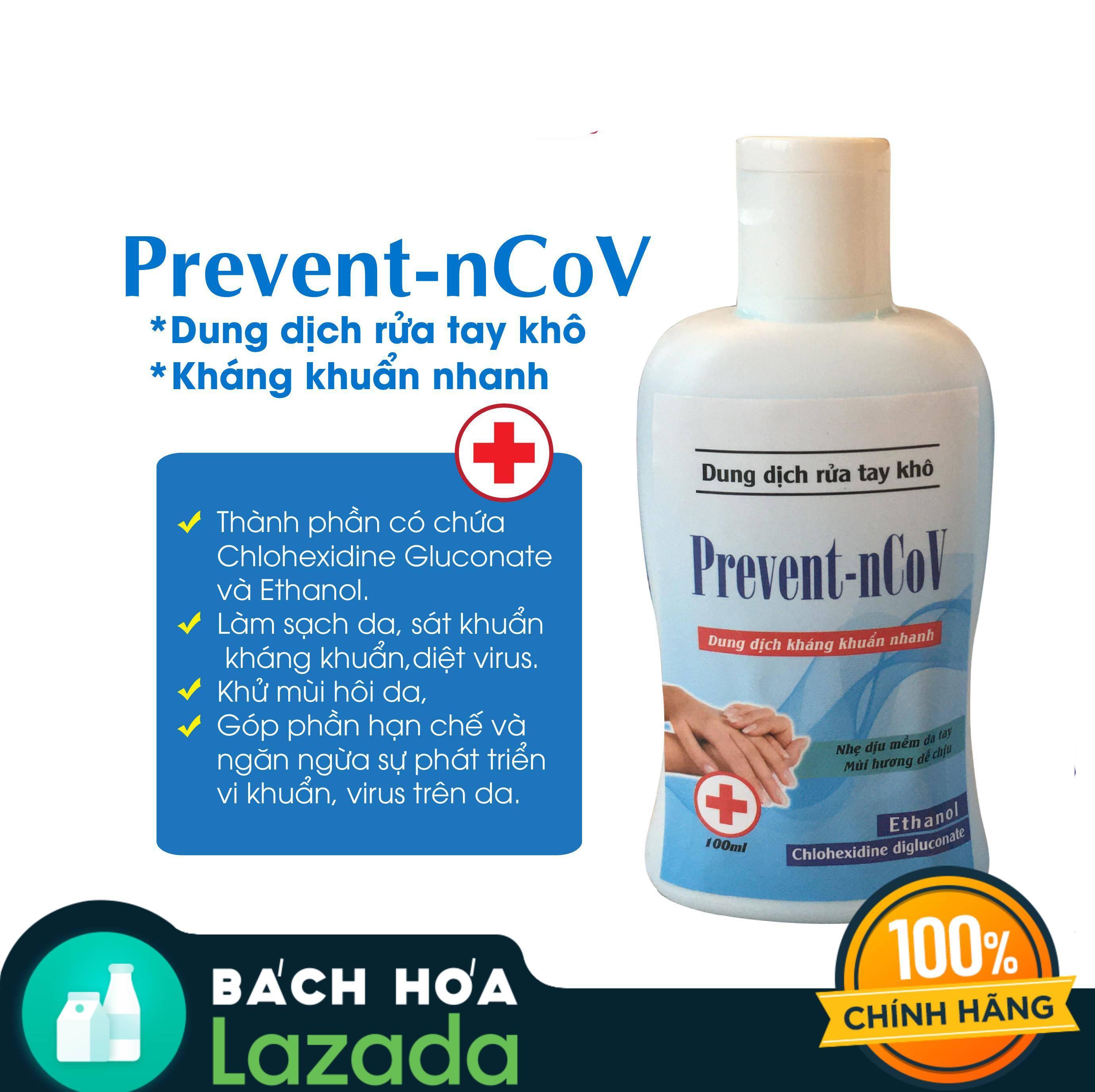 [Giảm ngay 12% khi mua combo khẩu trang Anyguard+ nước rửa tay Prevent] Nước rửa tay khô kháng khuẩn Prevent - nCoV 100ml nhập khẩu