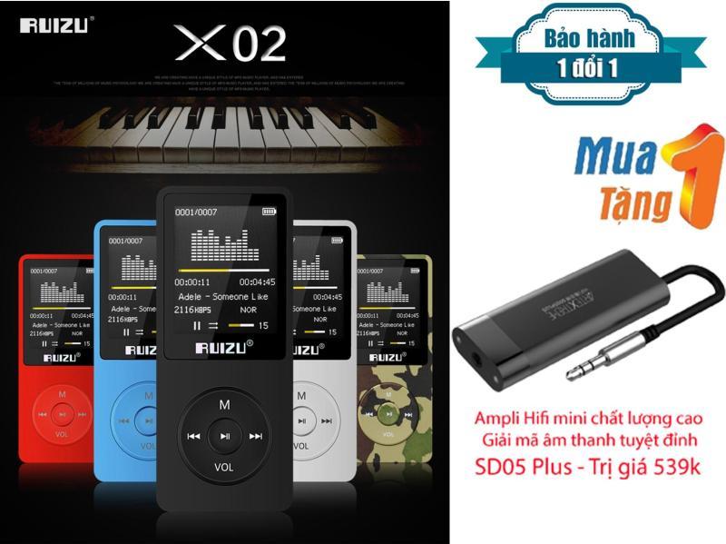 Máy Nghe Nhạc HiFi Mp3 Ruizu X02 + Tặng Ampli Mini hỗ trợ giải mã âm thanh chất lượng cao đem đến cho bạn trải nghiệm thưởng thức âm thanh tuyệt hảo SD05 Plus