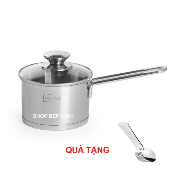 Nồi nấu cháo bột 3 đáy inox 430 Fivestar Standard nắp kính bếp từ tặng 5 muỗng ăn ( 12cm / 14cm / 16cm )