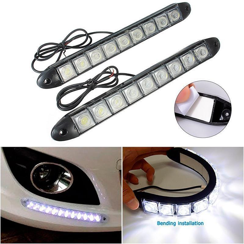 Bộ 02 ĐÈN LED 8 Mắt Chạy Ban Ngày Đèn DRL Xe Phá Sương Mù Lắp Cho Tất Cả Xe 12V
