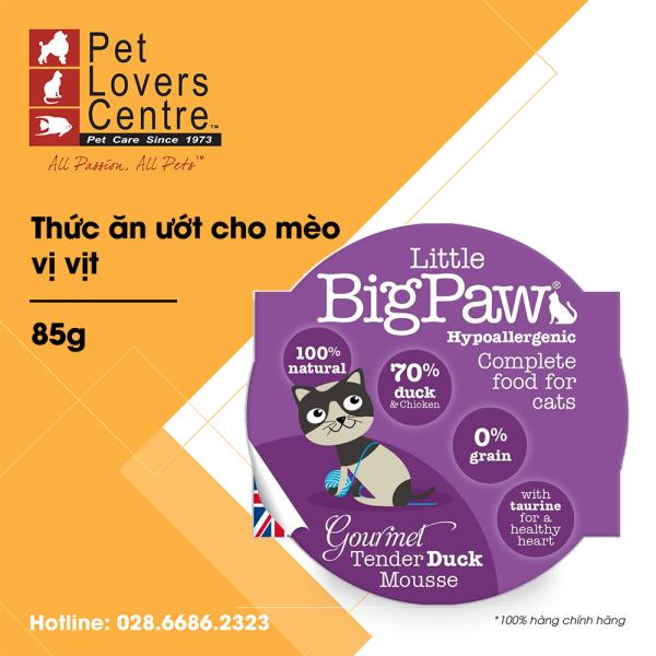 Thứuc ăn ướt cho mèo LITTLE BIG PAW  POT GOURMET TENDER DUCK MOUSSE (HYPOALLERGENIC) 85g