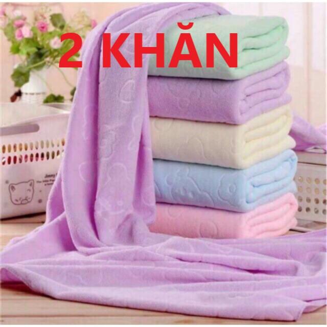 [HCM](Combo 2) Khăn tắm xuất dư mền mịn thấm nước tốt kích thước 140cm * 70cm ( giao nhiều màu khác nhau )