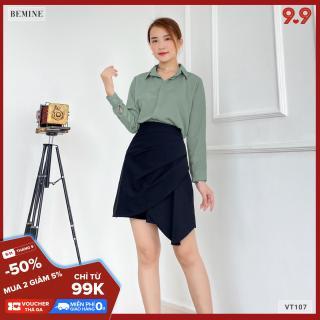Chân váy xếp li chéo tà BEMINE VT107DEN thumbnail
