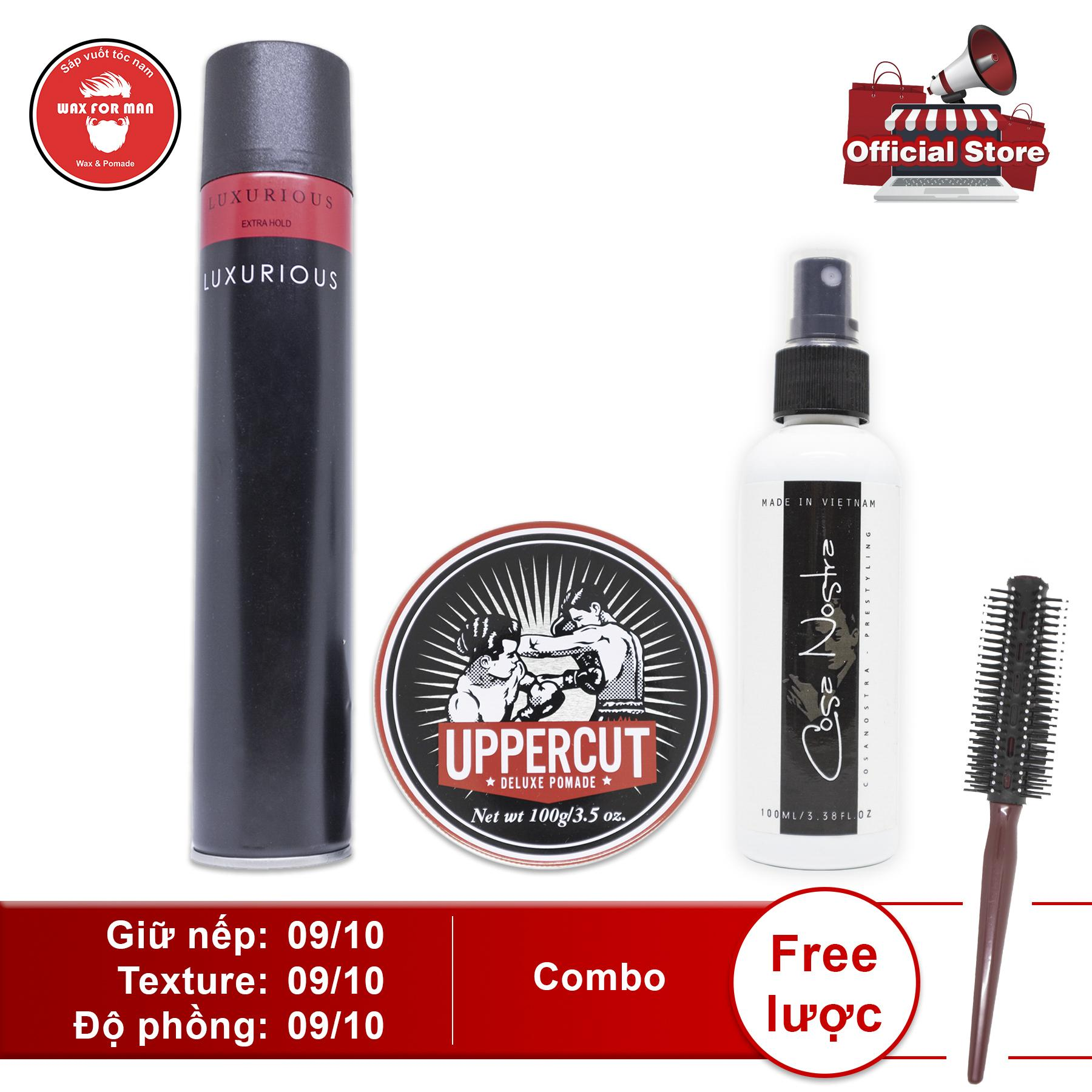 Sáp vuốt tóc Uppercut Deluxe Pomade + Cosa Nostra pre-styling + gôm Luxurious