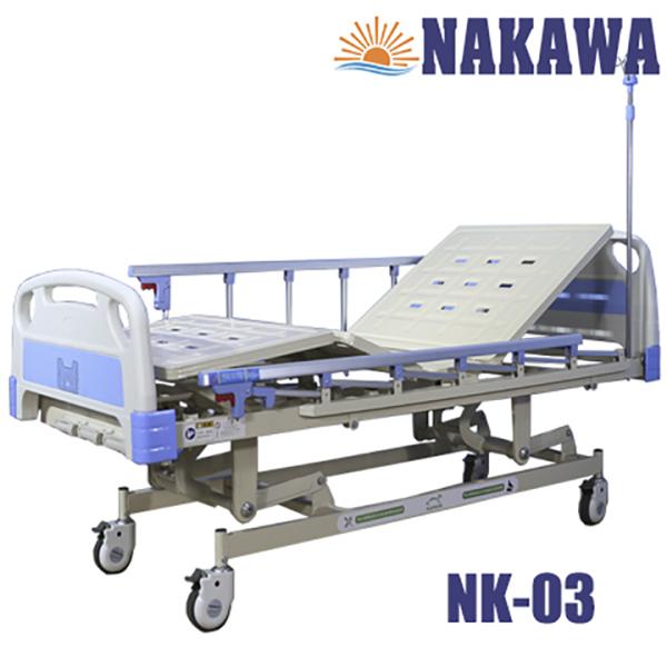Giường bệnh nhân 3 tay quay NAKAWA,[Giá:10.790.000], giường y tế 3 tay quay, giường bệnh viện đa năng, thiết bị chăm sóc sức khoẻ cho người già, medical bed
