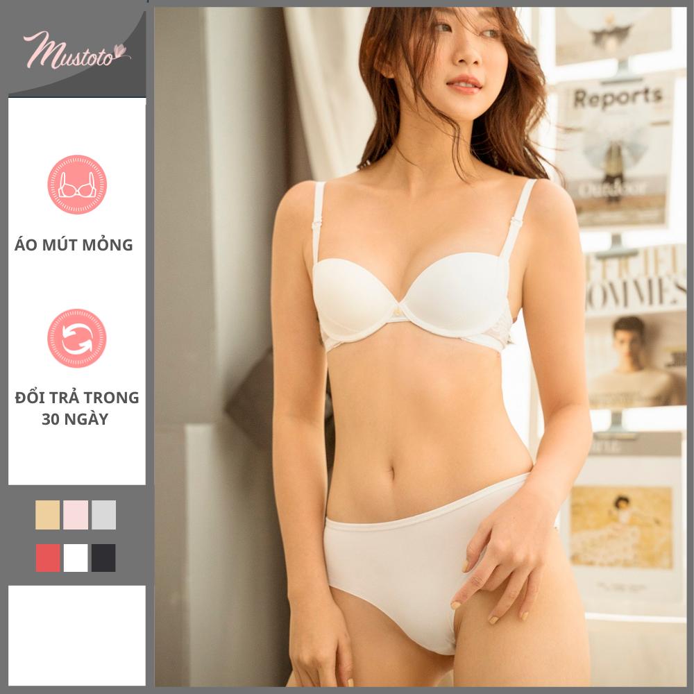 Áo Lót Nữ Mút Mỏng Có Gọng Nâng Ngực Trơn Phối Ren (Mustoto MA0302)