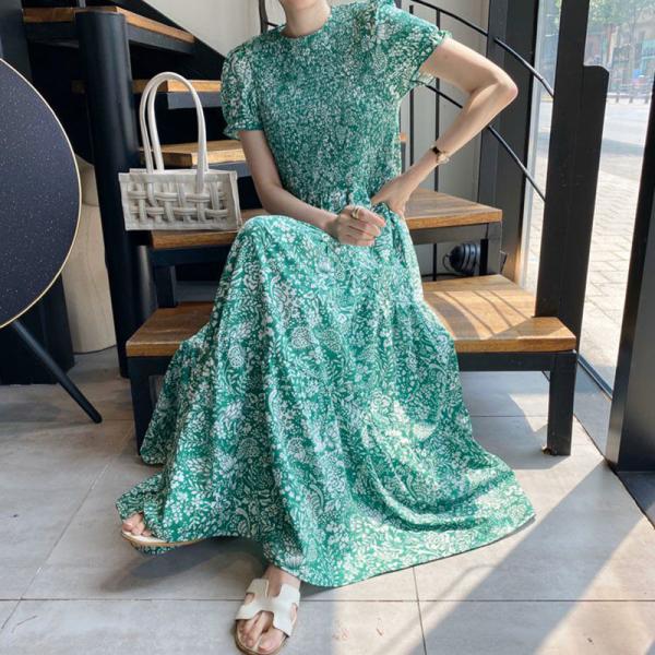 Đầm cho nữ theo phong Cách Retro  dáng dài họa tiết hoa xanh nhỏ cổ tròn kiểu gấp bó eo - INTL - Hàng quốc tế   Lưu ý thời gian giao hàng dự kiến