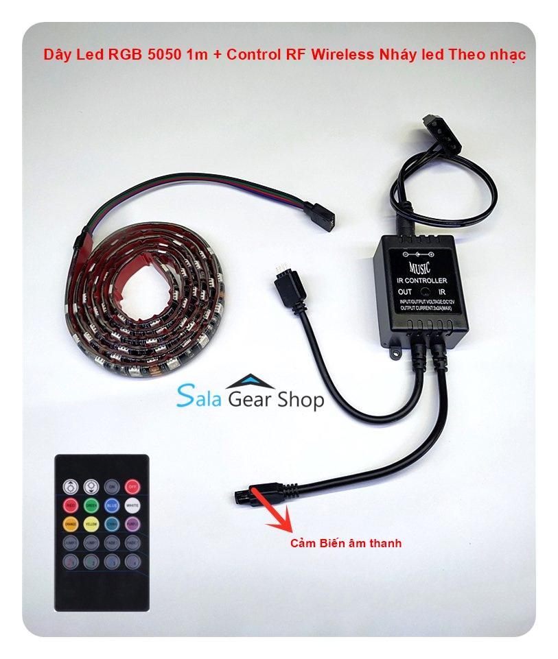 Giá Dây LED RGB 12v 4Pin  nháy theo nhạc Chip Led 5050 dài 1m- music control