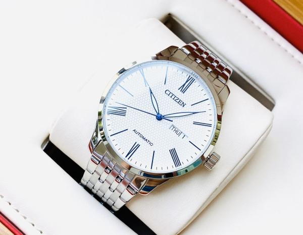 Đồng hồ Nam Citizen Automatic NH8350-59B Size 40mm,Mặt trắng,Lịch thứ ngày-Máy cơ tự động-Dây kim loại thép cao cấp