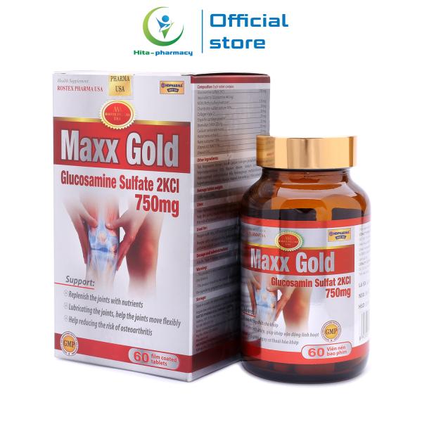 Viên Uống Bổ Xương Khớp Glucosamine Maxx Gold giảm đau nhức xương khớp, chống thoái hóa khớp - Chai 60 viên